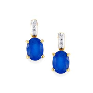 Santorinite™ Blue Spinel Earrings with Diamond in 10k Gold 1.74cts