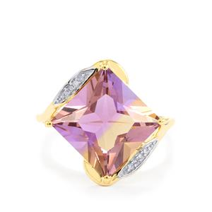 Anahi Ametrine Ring with Diamond in 10k Gold 5.93cts