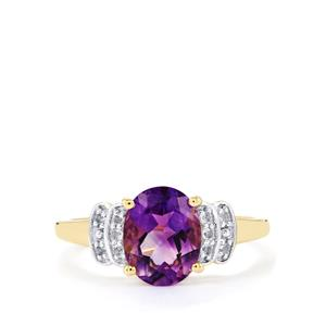 Moroccan Amethyst & White Sapphire 10K Gold Ring ATGW 1.80cts