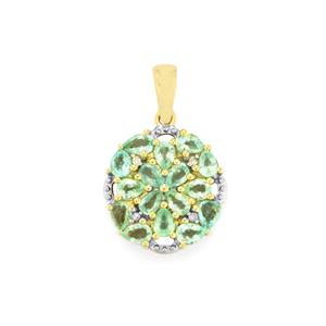Paraiba Tourmaline Pendant with Diamond in 10k Gold 1.35cts