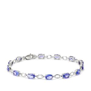 AA Tanzanite Bracelet  in Platinum Plated Sterling Silver 5.75cts