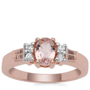 Zambezia Morganite Ring with White Zircon in Rose Gold Plated Sterling Silver 0.73ct