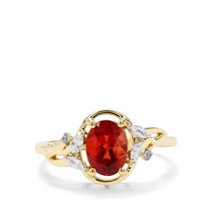 Red Labradorite & White Zircon 9K Gold Ring ATGW 1.15cts