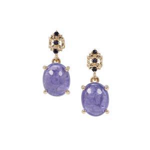 Tanzanite & Ceylon Blue Sapphire 9K Gold Earrings ATGW 7.14cts