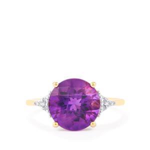 Zambian Amethyst & Diamond 10K Gold Ring ATGW 3.67cts