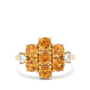 Mandarin Garnet & White Zircon 9K Gold Ring ATGW 3.66cts