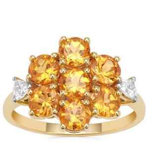 Mandarin Garnet Ring with White Zircon in 9K Gold 3.66cts