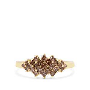 Cape Champagne Diamond Ring in 9K Gold 0.76ct