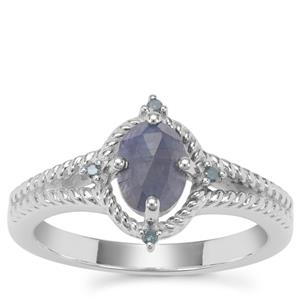 Rose Cut Bharat Sapphire Ring with Blue Diamond in Sterling Silver 1.02cts