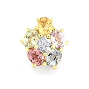Rainbow Sapphire & Diamond 9K Gold Pendant ATGW 1.19cts