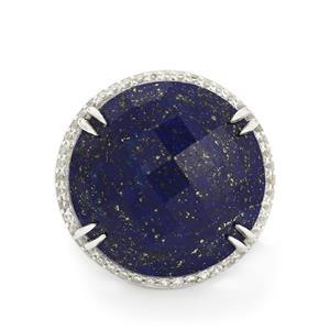 Sar-i-Sang Lapis Lazuli & White Topaz Sterling Silver Ring ATGW 39.16cts