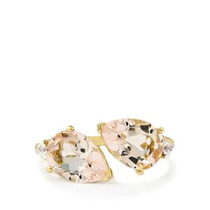 Mutala Morganite & White Zircon 9K Gold Ring ATGW 3.43cts