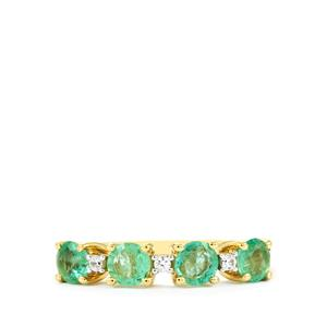 Zambian Emerald Ring with White Zircon in 10k Gold 1.04cts