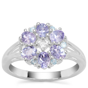 AA Tanzanite, Swiss Blue Topaz Ring with White Zircon in Sterling Silver 1.18cts