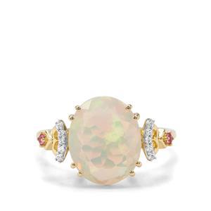 Ethiopian Opal, Pink Tourmaline & White Zircon 9K Gold Ring ATGW 2.29cts