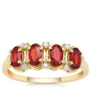 Songea Ruby Ring with Diamond in 9K Gold 1.23cts