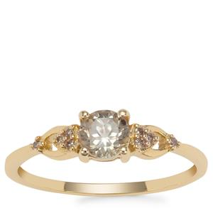Csarite® Ring with Champagne Diamond in 9K Gold 0.62ct