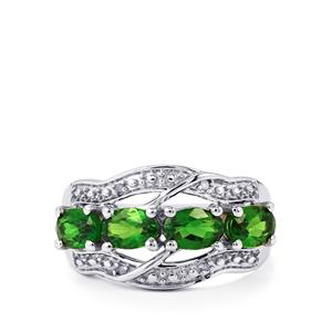 Chrome Diopside & Diamond Sterling Silver Ring ATGW 1.94cts