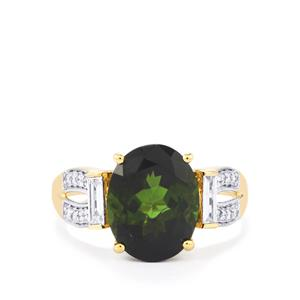 Green Tourmaline Ring with Diamond in 18K Gold 4.70cts