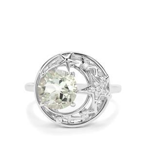 Lone Star Prasiolite & White Zircon Sterling Silver Ring ATGW 2.04cts