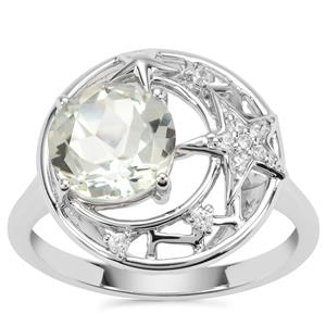 Lone Star Prasiolite Ring with White Zircon in Sterling Silver 2.04cts