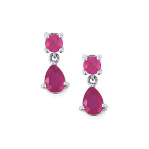 Ilakaka Hot Pink Sapphire Earrings in Sterling Silver 4.30cts (F)