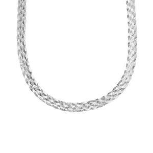 "22"" Sterling Silver Altro Braided Slider Herringbone Necklace 17.04g"
