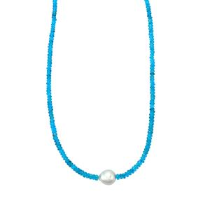 Neon Apatite Graduated Bead Necklace with South Sea Cultured Pearl in Sterling Silver