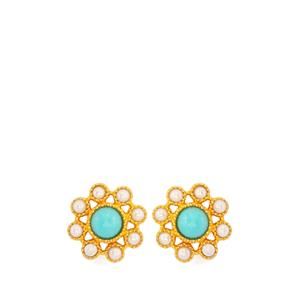Turquoise & Kaori Cultured Pearl Gold Plated Sterling Silver Earrings