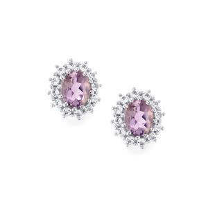 Purple Scapolite Earrings with White Topaz in Sterling Silver 0.85cts