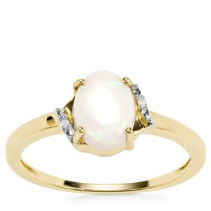 Coober Pedy Opal Ring with Diamond in 9K Gold 0.69ct