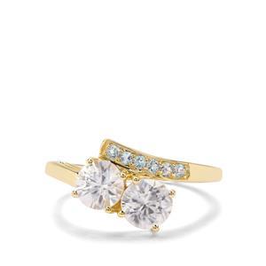 Singida Tanzanian Zircon & Swiss Blue Topaz 9K Gold Ring ATGW 2.02cts