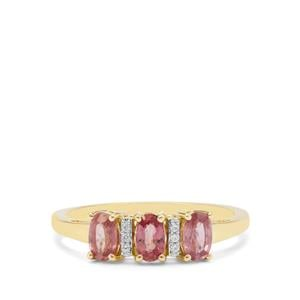 Padparadscha Sapphire Ring with White Zircon in 9K Gold 1.05cts