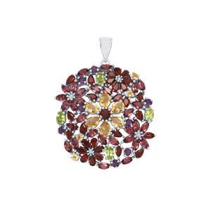 Kaleidoscope Gemstones Pendant in Sterling Silver 24.21cts