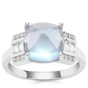 Sky Blue Topaz Ring with White Zircon in Sterling Silver 7.51cts