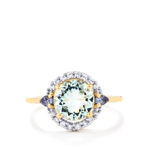 Pedra Azul Aquamarine, White Zircon Ring with Tanzanite in 10k Gold 1.87cts