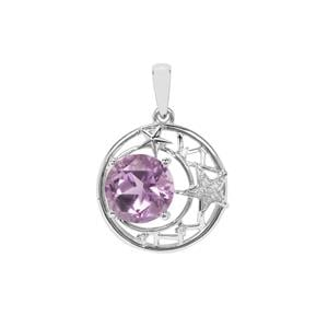 Lone Star Bahia Amethyst Pendant with White Zircon in Sterling Silver 3.85cts
