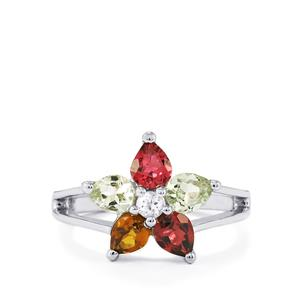 Rainbow Tourmaline & White Topaz Sterling Silver Ring ATGW 1.48cts