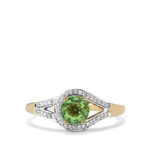 Tsavorite Garnet Ring with Diamond in 18K Gold 1.05cts