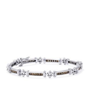 Champagne Diamond Bracelet in Sterling Silver 1.70ct