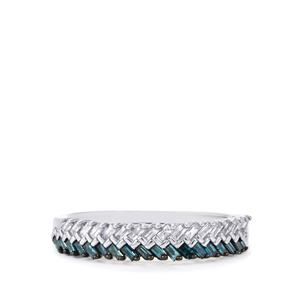 Blue Diamond Ring with White Diamond in Sterling Silver 0.34ct