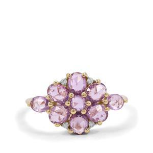 Rose Cut Purple Sapphire & White Zircon 9K Gold Ring ATGW 1.94cts