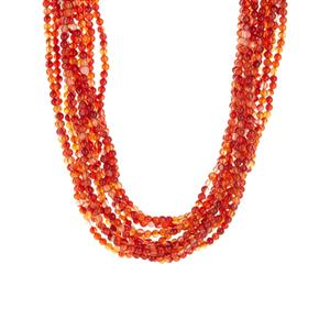 389.95ct Red Agate Sterling Silver Bead Necklace