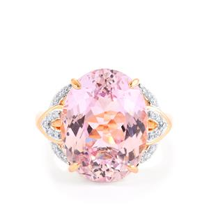 Mawi Kunzite Ring with Diamond in 14k Rose Gold 12.11cts