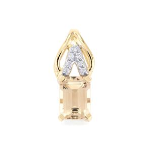Champagne Danburite Pendant with Zircon in 10k Gold 1.10cts