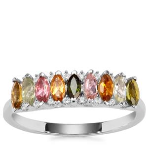 Tutti-Fruiti Tourmaline Ring with White Zircon in Sterling Silver 0.86cts
