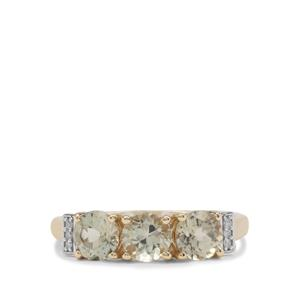 Csarite® & Diamond 9K Gold Ring ATGW 1.65cts
