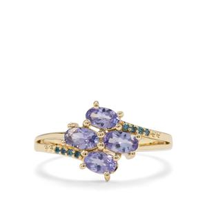 AA Tanzanite & Blue Diamond 9K Gold Ring ATGW 1.06cts
