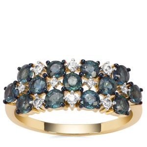 Natural Nigerian Blue Sapphire Ring with White Zircon in 9K Gold 1.78cts