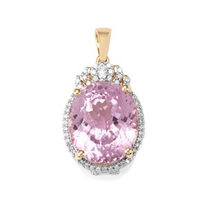 Mawi Kunzite Pendant with Diamond in 18K Gold 16.80cts